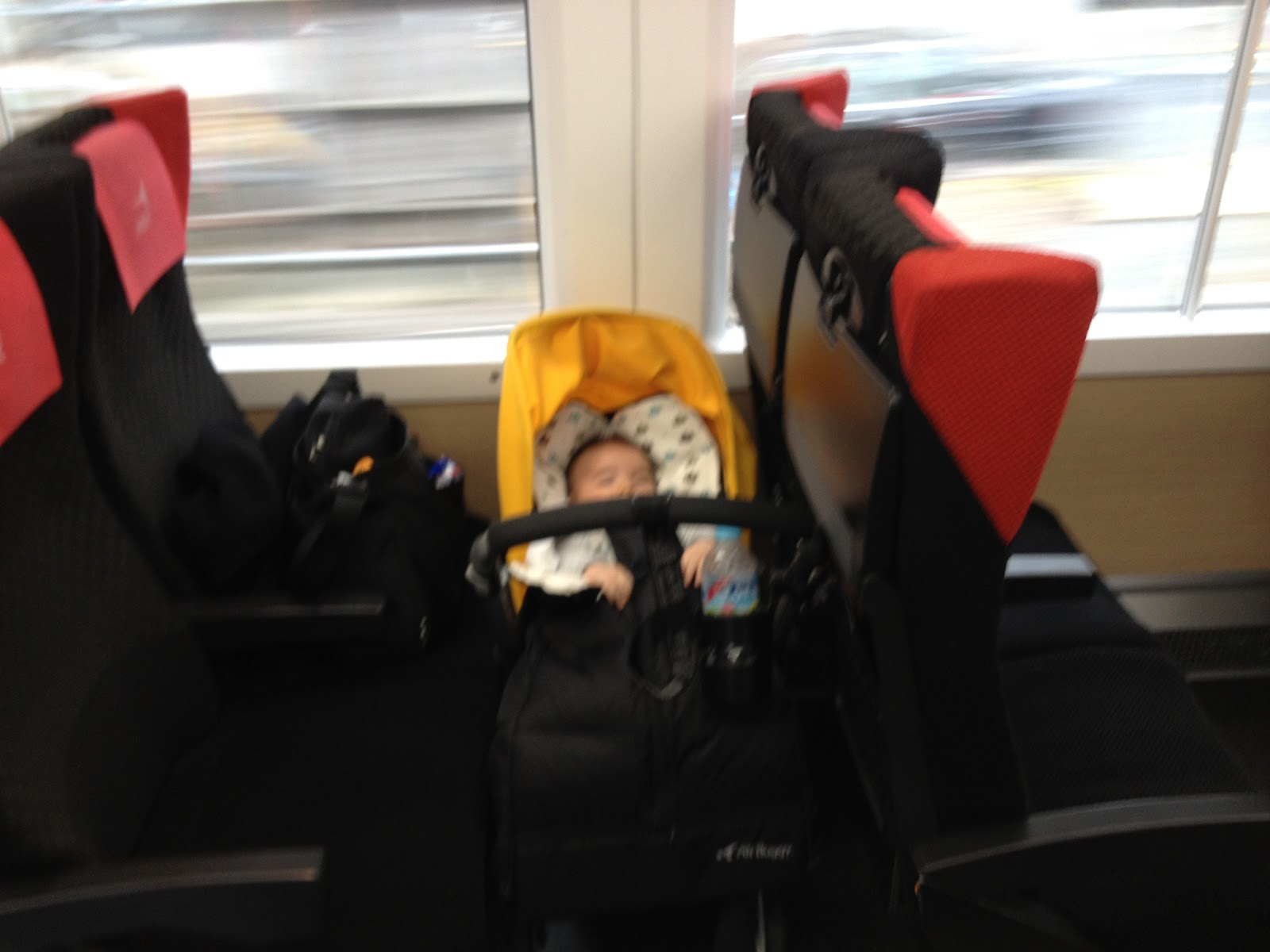 Catching Narita Express with a baby and stroller
