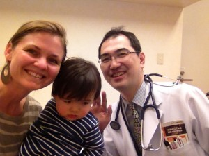 Baby hay fever checkup in Japan