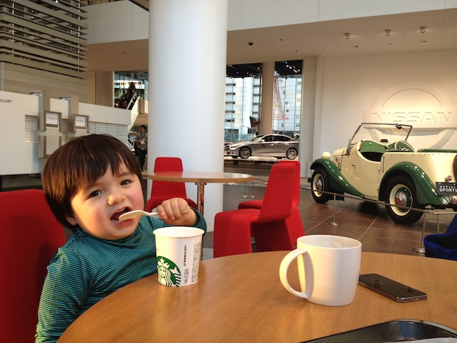 Starbucks coffee shop INSIDE the Nissan car gallery - perfect for taking a break