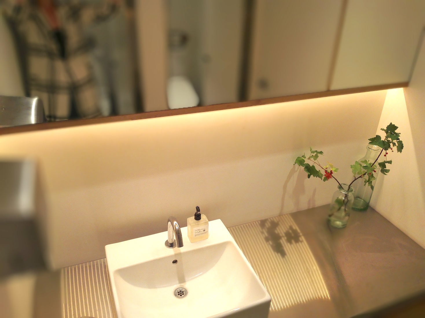 Lovely sink in the bathroom in 100 Spoons baby-friendly restaurant in Futako Tamagawa, Tokyo