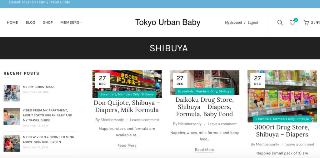 Tokyo Urban Baby Travel Guide Shibuya category