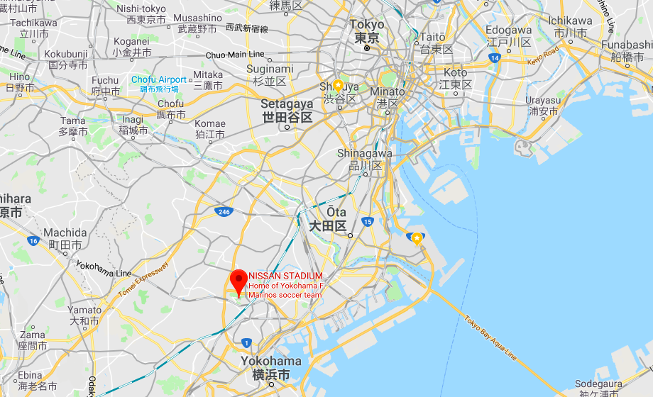 Location of the Nissan International Stadium Yokohama for the final match Rugby World Cup 2019 Japan