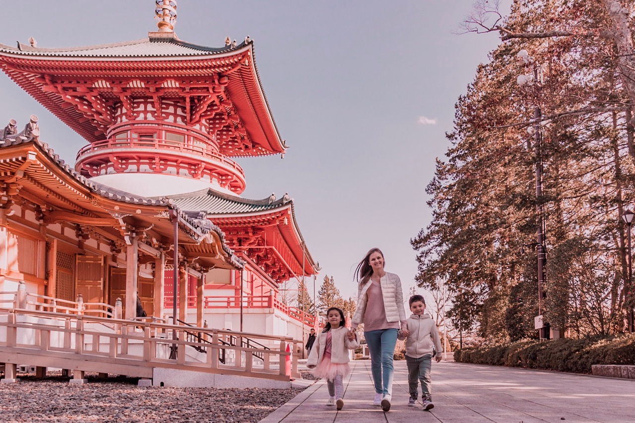 Narita-san Temple pagoda with kids