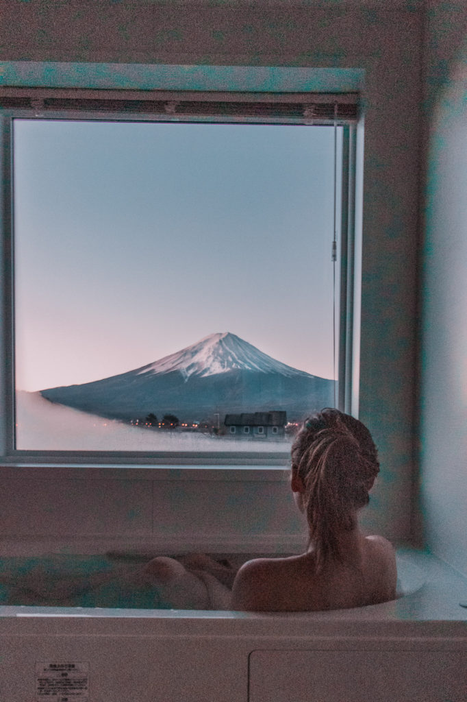 Mt Fuji kid-friendly hotel onsen with view.