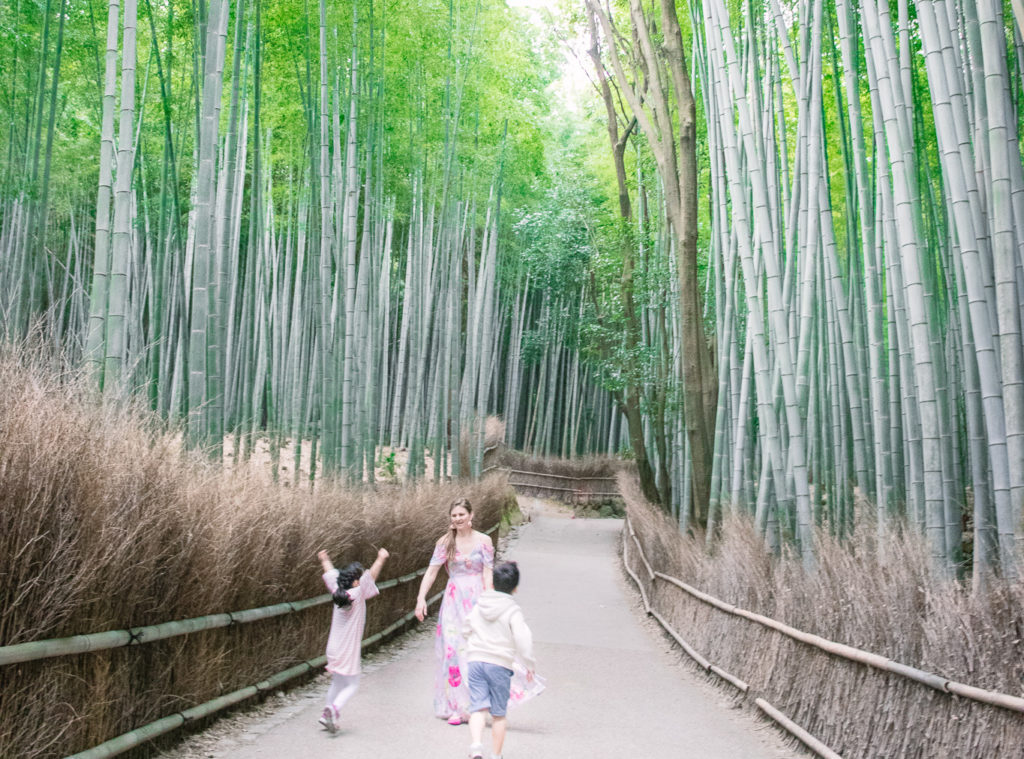 Arashiyama bamboo grove with kids
