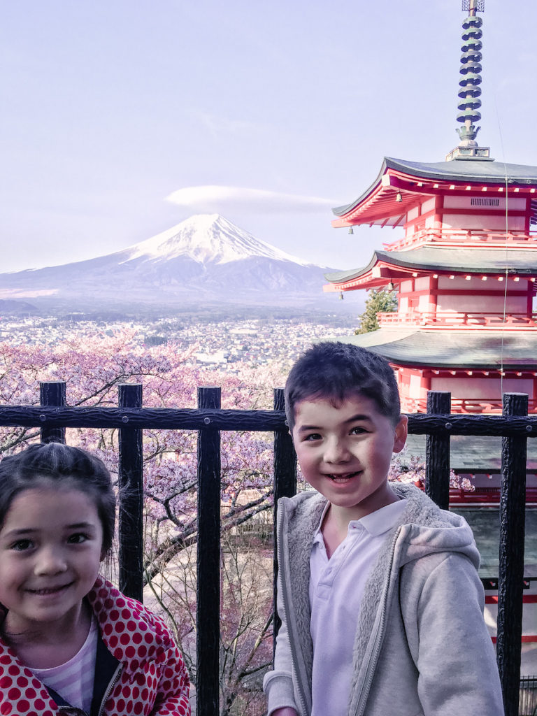 Chureito Pagoda Mt Fuji fun with kids