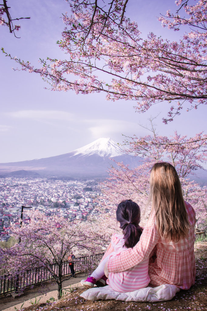 Chureito Pagoda Mt Fuji with kids